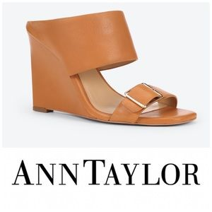 "NWOB ANN TAYLOR ""Helene"" Leather Wedge Sandals"